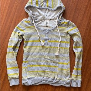 Roxy XS hoodie gray and yellow striped